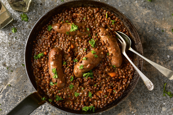 Toulouse Sausages in Green Lentil Sauce