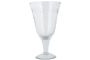 Wine Glass with Leaf Edging
