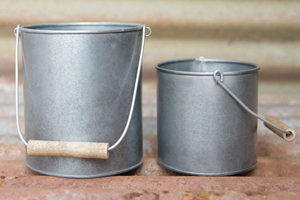 Galvanised Steel Pots - Set of 2