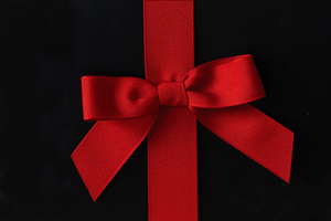 Large Red Bow on Ribbon
