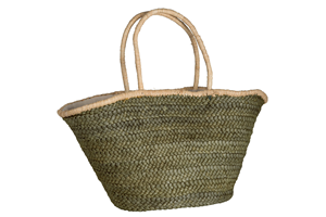 Olive Green Straw Lined Shopper Bag