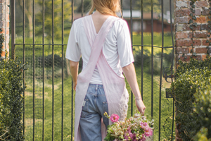 Pale Rose Linen Crossover Apron